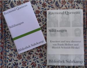 """Die beiden Buchcover der Erstübersetzung und der Neuübersetzung von Raymond Queneaus """"Stilübungen"""", erschienen in der """"Bibliothek Suhrkamp"""""""